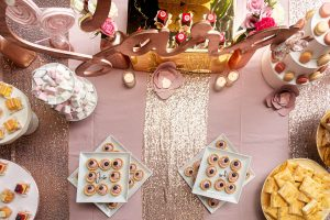 buffet compleanno rose gold